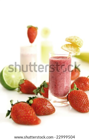 Colorful fruity smoothies - stock photo