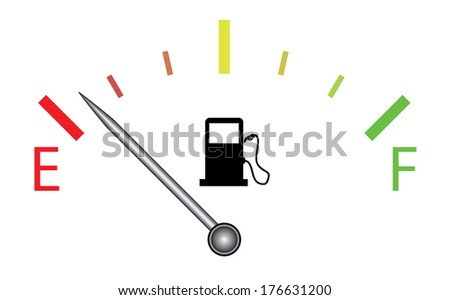 Colorful fuel gauge with silver indicator, raster version. - stock photo