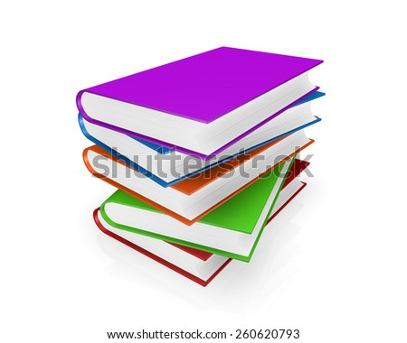 colorful full Books on white background