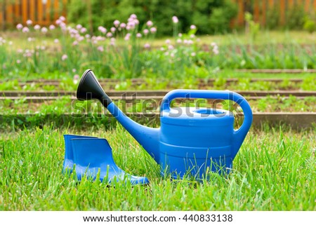 Colorful garden tools. watering can and rubber boots.