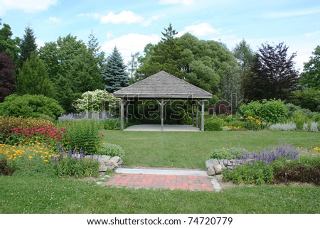 Colorful garden with wedding pavilion