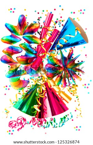 colorful garlands, streamer, cracker, hats and confetti. party decoration background - stock photo