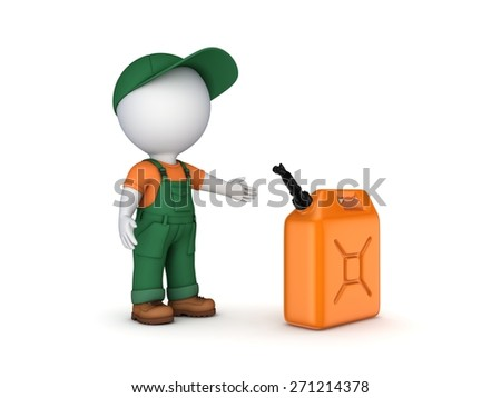 Colorful gasoline jerrycan and 3d small person. Isolated on white background. - stock photo