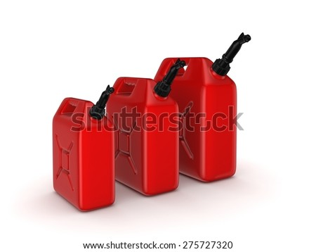 Colorful gasoline jerrycans isolated on white background.