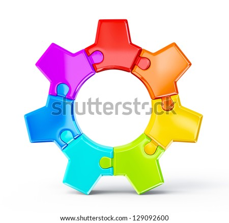 colorful gear isolated on a white background - stock photo