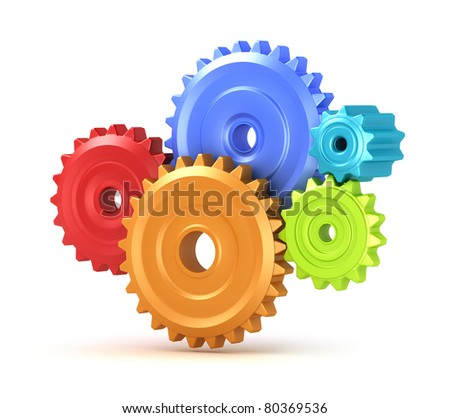 Colorful gear shift, isolated 3D concept - stock photo