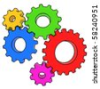 colorful gears on white background - stock photo