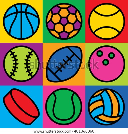 Colorful generic game ball icons on a checkered background. Can also be used as a seamless pattern.