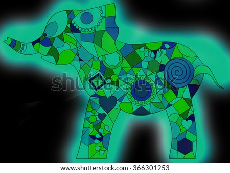 Colorful Geometric Shapes Elephant