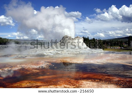 Colorful geyser in Yellowstone National Park. - stock photo