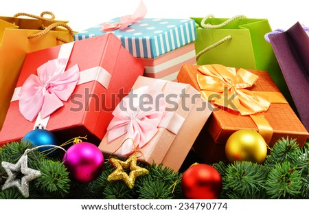 Colorful gift boxes and paper bags isolated on white background. - stock photo