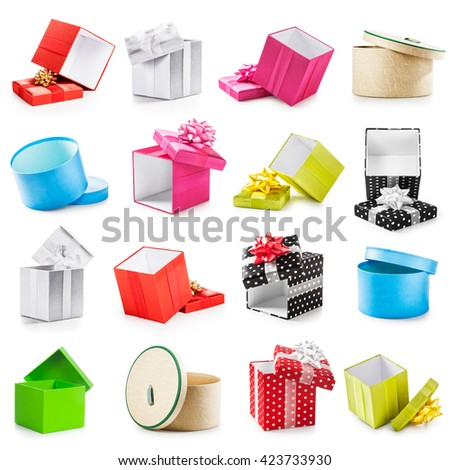Colorful gift boxes collection. Holiday present. Objects isolated on white background - stock photo