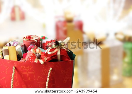 Colorful gift boxes on gift boxes background. - stock photo