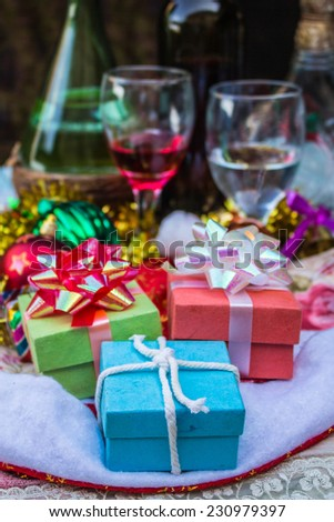 Colorful gift boxes on the table.