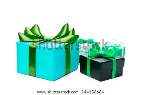 Colorful gift boxes on white background. - stock photo
