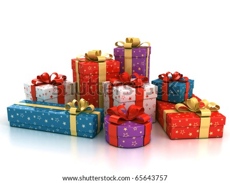colorful gift boxes over white background 3d illustration - stock photo