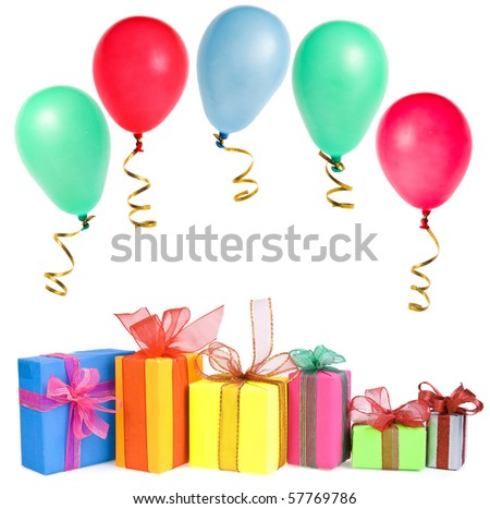 colorful gift boxes with colored balls , card , isolated on white background - stock photo