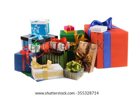 colorful gift boxes with colored ribbons and wrapping paper on white background