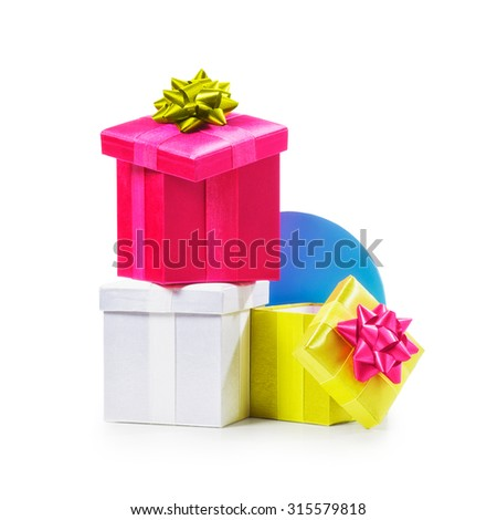 Colorful gift boxes with ribbon bow. Holiday present. Croup of objects isolated on white background. Clipping path