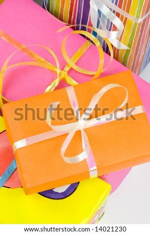 Colorful gift boxes with ribbons