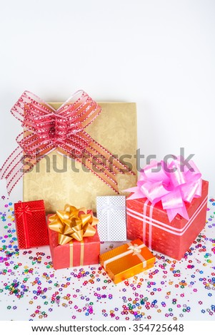 colorful gifts box on white paper background.