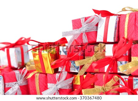 Colorful gifts close-up on a white background