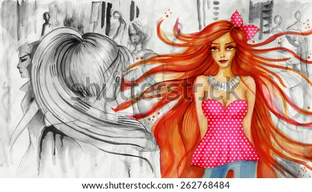 Colorful girl with long hair standing in the middle of a crowd of people. Fashion illustration. Gray surrounding - stock photo
