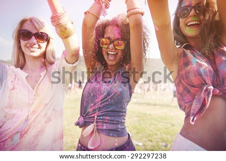 Colorful girls during the festival - stock photo