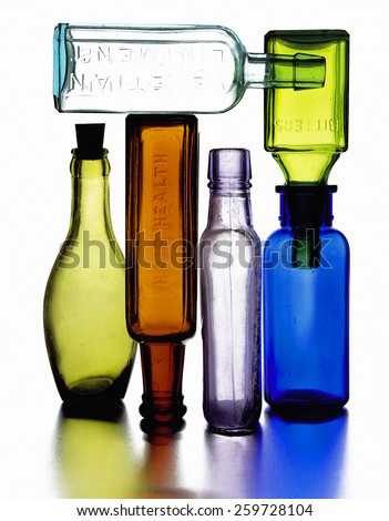 colorful glass bitters bottles