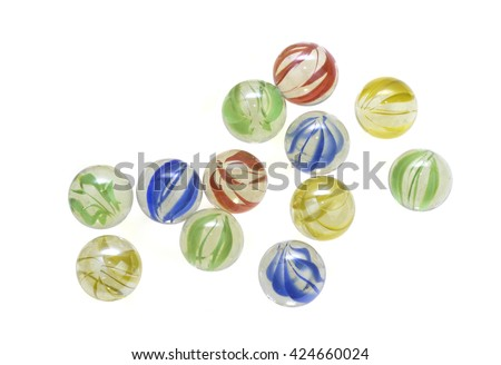 Colorful glass marbles isolated on white background - stock photo