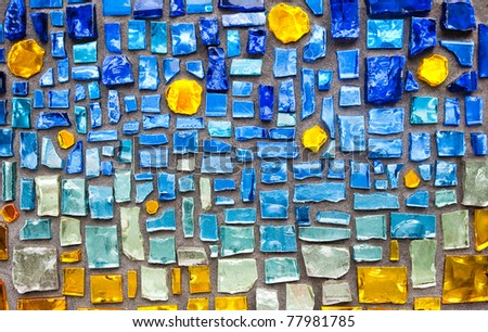 colorful glass mosaic wall background - stock photo