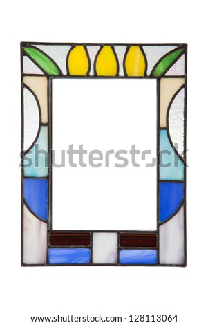Colorful glass photo frame. - stock photo