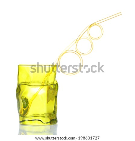 Colorful glass with cocktail straw isolated on white
