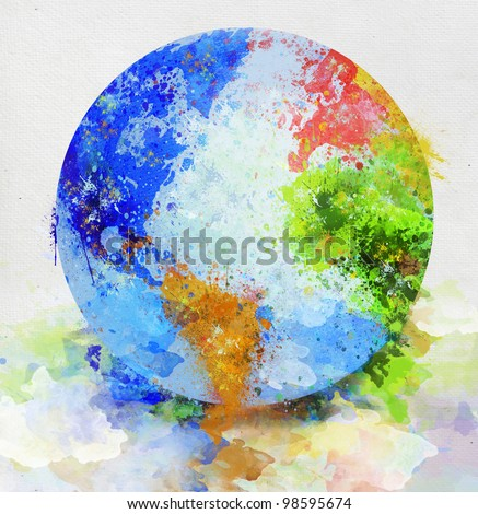 colorful globe painting on paper - stock photo