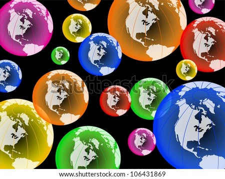 Colorful globes of North America set randomly against a black background to create a globe wallpaper design.
