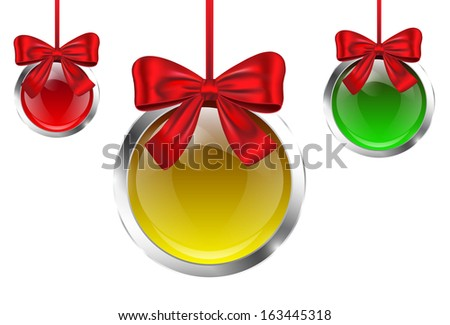 Colorful glossy Christmas baubles tied with red bows