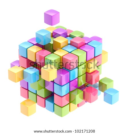 Colorful glossy cube abstract background isolated on white - stock photo