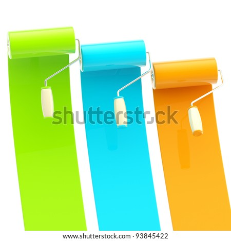 Colorful glossy green, blue, orange bright paint rollers with color strokes
