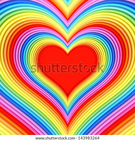 Colorful glossy heart shape with red center. High resolution 3D image - stock photo