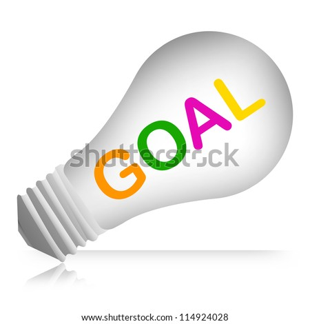 Colorful Goal Text Inside The Light Bulb For Business Concept Isolated on White Background - stock photo