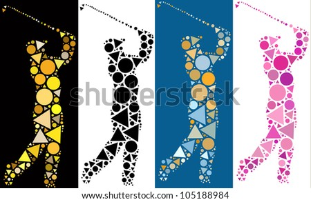 Colorful golf symbol made from creative composition of circle and triangle shapes - stock photo