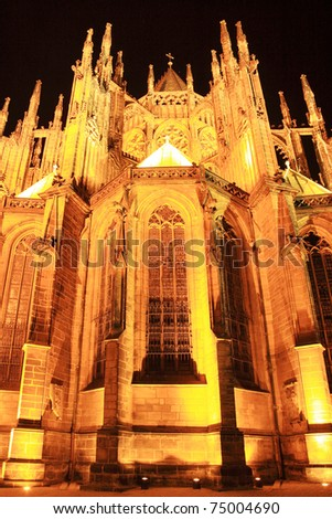 Colorful gothic St. Vitus' Cathedral on Prague Castle in the Night, Czech Republic