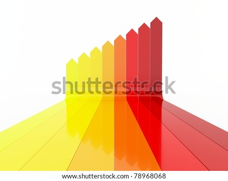 Colorful gradient arrows - stock photo