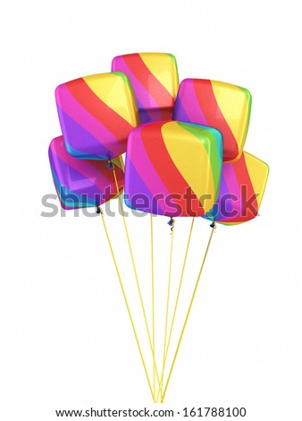 Colorful Gradient Cube Balloons (isolated and clipping path) - stock photo