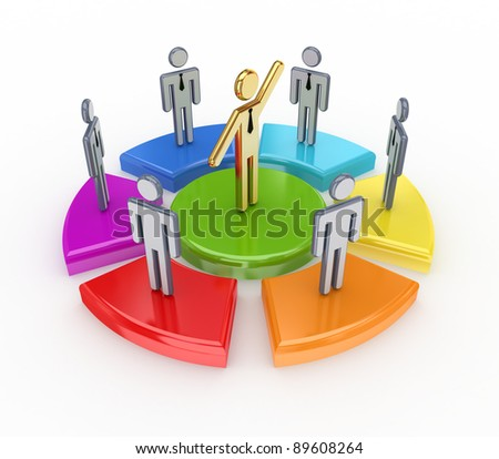 Colorful graph and 3d small people.Isolated on white background.3d rendered. - stock photo