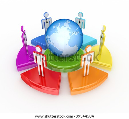Colorful graph, globe and 3d small people.Isolated on white background.3d rendered.