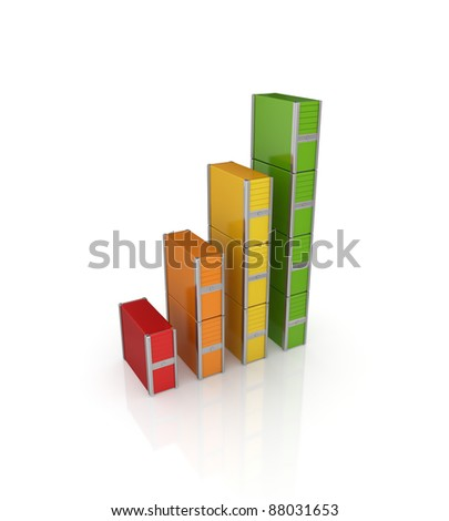 Colorful graph made of PC towers.Isolated on white background.3d rendered.