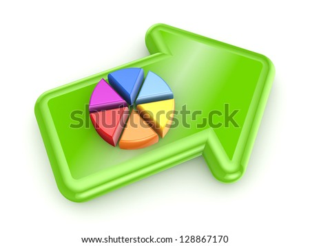 Colorful graph on green arrow.Isolated on white background. - stock photo