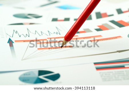 colorful graphs, charts, marketing research and business annual report background, management project, budget planning, financial and education concepts - stock photo