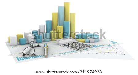 colorful graphs of financial analysis - Isolated - stock photo